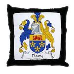 Davy Family Crest Throw Pillow