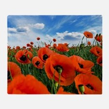 Poppy Flowers Field Throw Blanket