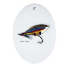 'Silver Doctor Salmon Fly'  Oval Ornament