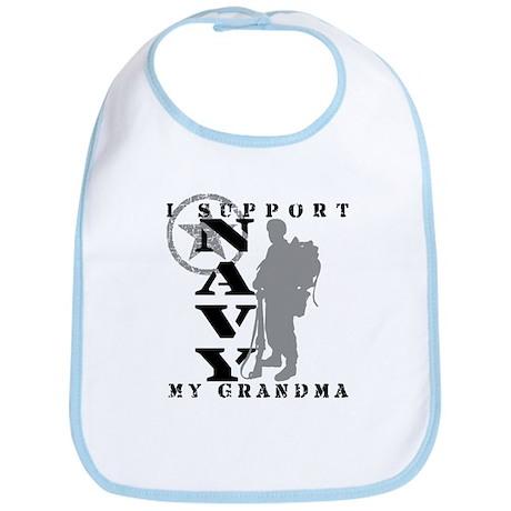 I Support Grandma 2 - NAVY Bib