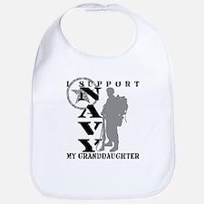I Support Granddaughter 2 - NAVY  Bib
