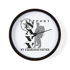 I Support Granddaughter 2 - NAVY  Wall Clock