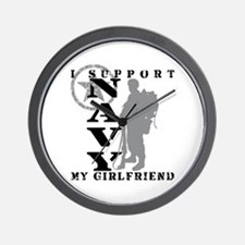 I Support Girlfriend 2 - NAVY  Wall Clock