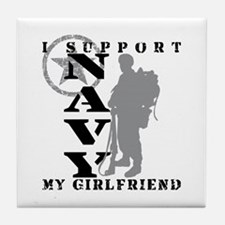 I Support Girlfriend 2 - NAVY  Tile Coaster