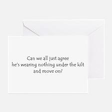 Under the Kilt Sticker Greeting Cards