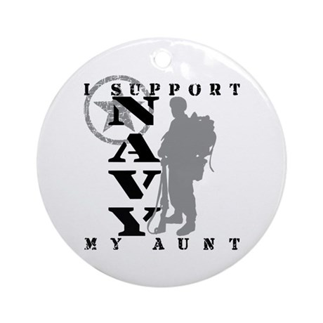 I Support Aunt 2 - NAVY Ornament (Round)