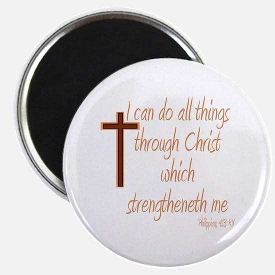 Philippians 4 13 Brown Cross Magnets