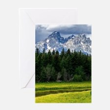 Mountains,River and Forest Landscape Greeting Card