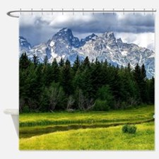 Mountains,River and Forest Landscape Shower Curtai
