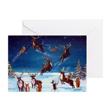 Flying Lessons Corgis & Reind Greeting Cards (Pk o