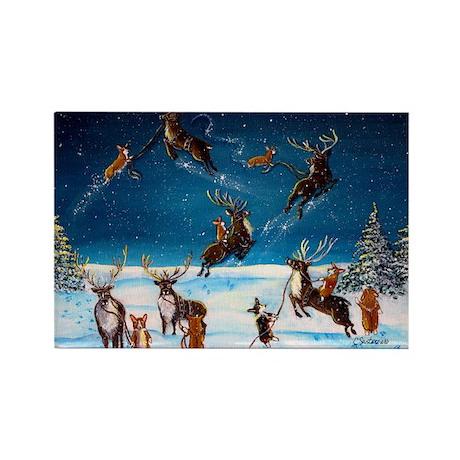 Flying Lessons Corgis & Reind Rectangle Magnet (10