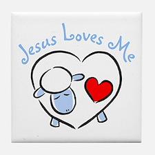 Jesus Loves Me - Blue Lamb Tile Coaster
