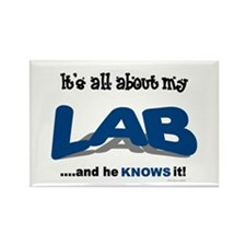 All About My Lab (He) Rectangle Magnet