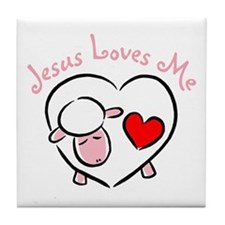 Jesus Loves Me - Pink Lamb Tile Coaster