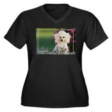 Miniature Poodle-4 Women's Plus Size V-Neck Dark T