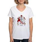 Clarke Family Crest Women's V-Neck T-Shirt