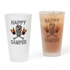 Happy Camper-skull-1-GREY Drinking Glass