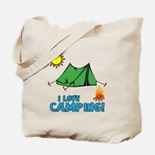 I Love Camping-3-Blue Tote Bag