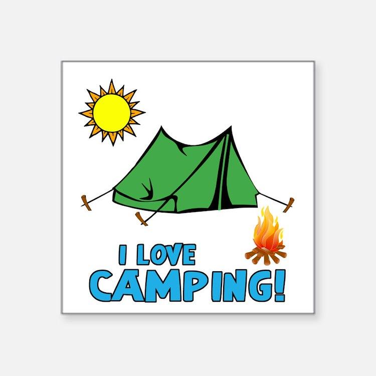 I Love Camping-3-Blue Sticker
