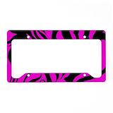 Hot pink zebra License Plate Frames