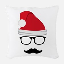 Hipster Santa Woven Throw Pillow