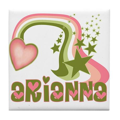 Rainbows & Stars Arianna Personalized Tile Coaster