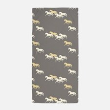 Gray and Yellow Trotting Horses Pattern Beach Towe