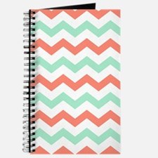 Mint and Coral Chevron Pattern Journal