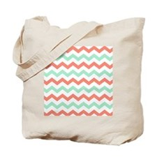 Mint and Coral Chevron Pattern Tote Bag