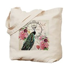 Peacock and spring flowers Tote Bag