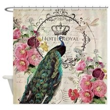 Peacock and spring flowers Shower Curtain