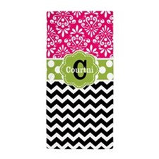 Pink Lime Damask Chevron Personalized Beach Towel