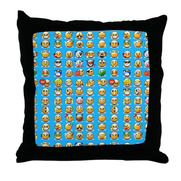 Throw Pillows Elegant : blue emoji Throw Pillow by Admin_CP13506533