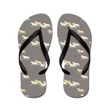 Gray and Yellow Trotting Horses Pattern Flip Flops