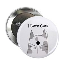 I Love White Gray Cats Button
