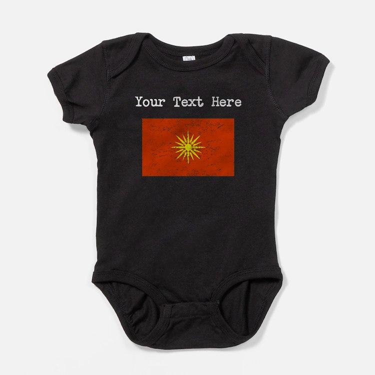 Macedonia Flag (Distressed) Baby Bodysuit