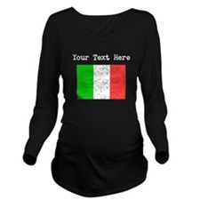 Italy Flag (Distressed) Long Sleeve Maternity T-Sh