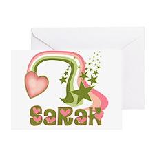 Rainbows & Stars Sarah Personalized Greeting Card