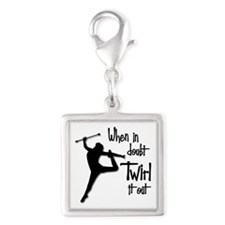 TWIRL IT OUT Silver Square Charm