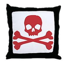 Skull Crossbones Red Throw Pillow