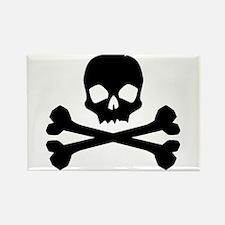 Skull Crossbones Black Rectangle Magnet