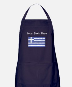 Greece Flag (Distressed) Apron (dark)