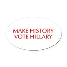 Make History Vote Hillary-Opt red 550 Oval Car Mag