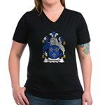 Burrough Family Crest Women's V-Neck Dark T-Shirt