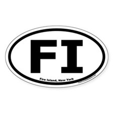 "Fire Island, NY ""FI"" Oval Bumper Stickers"
