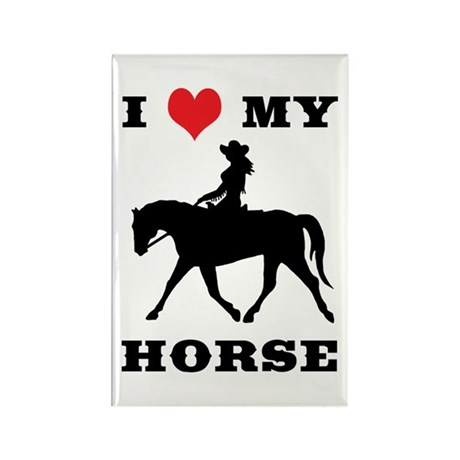 I Heart My Horse w/ Cowgirl Rectangle Magnet (10 p