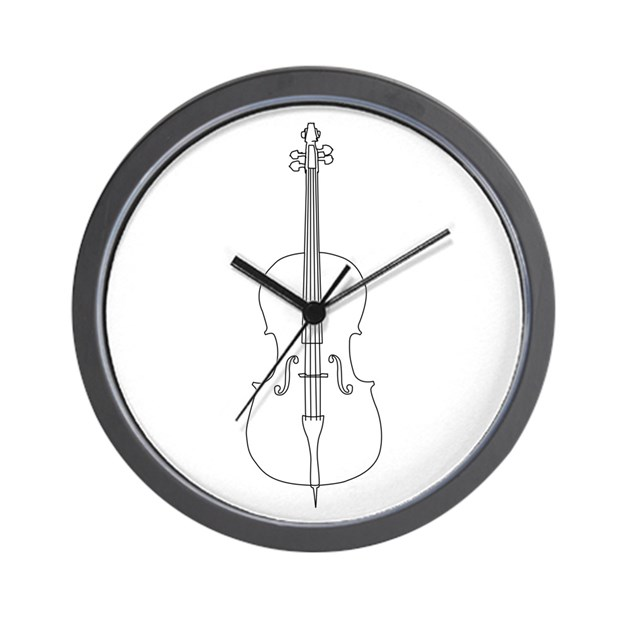 Line Drawing Clock : Cello line drawing wall clock by musicalartworks