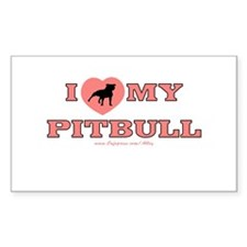 I Love My Pitbull Rectangle Decal