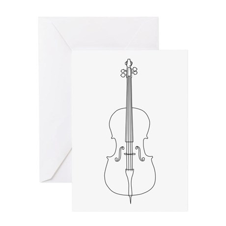 Cello Line Drawing Greeting Card