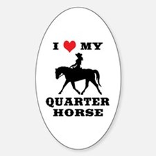 I Heart My Quarter Horse Sticker (Oval)